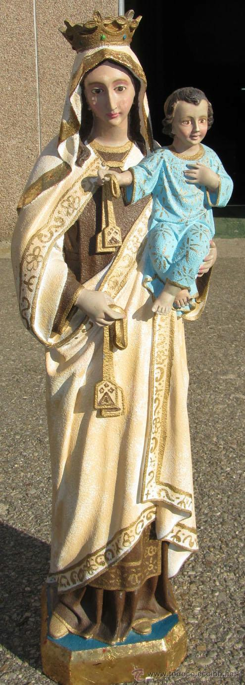 VIRGEN CARMEN MARMOLINA MACIZA 96 CM. ALTO (Arte - Arte Religioso - Escultura)
