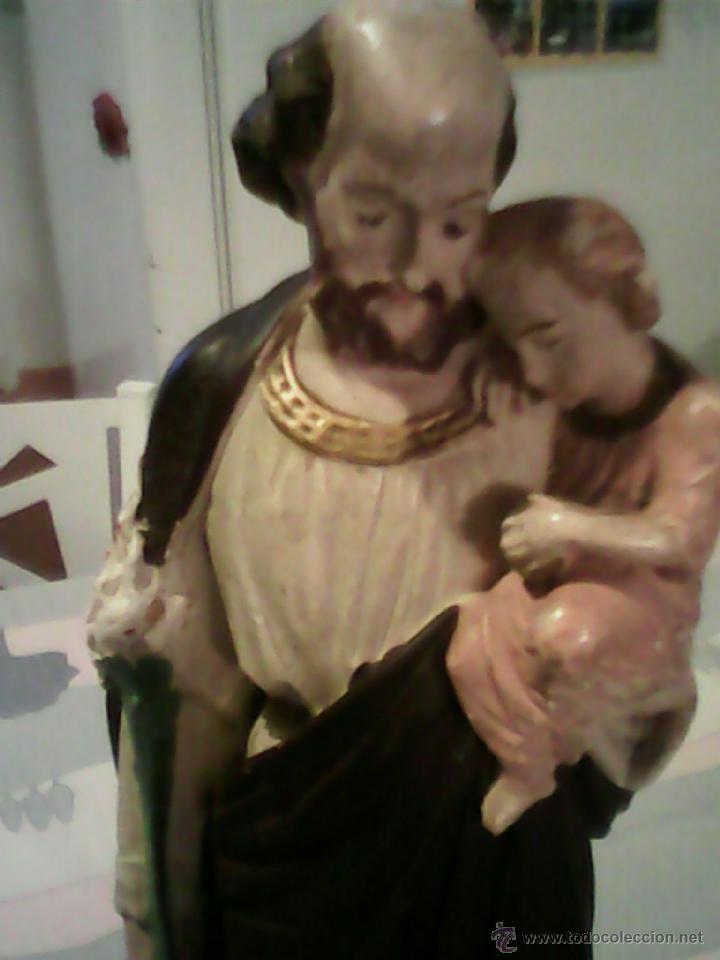 ANTIGUA ESCULTURA DE S.JOSE CON EN NIÑO JESUS DE ESTUCO AÑOS 50,60 (Arte - Arte Religioso - Escultura)