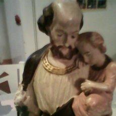 Arte: ANTIGUA ESCULTURA DE S.JOSE CON EN NIÑO JESUS DE ESTUCO AÑOS 50,60. Lote 39465954