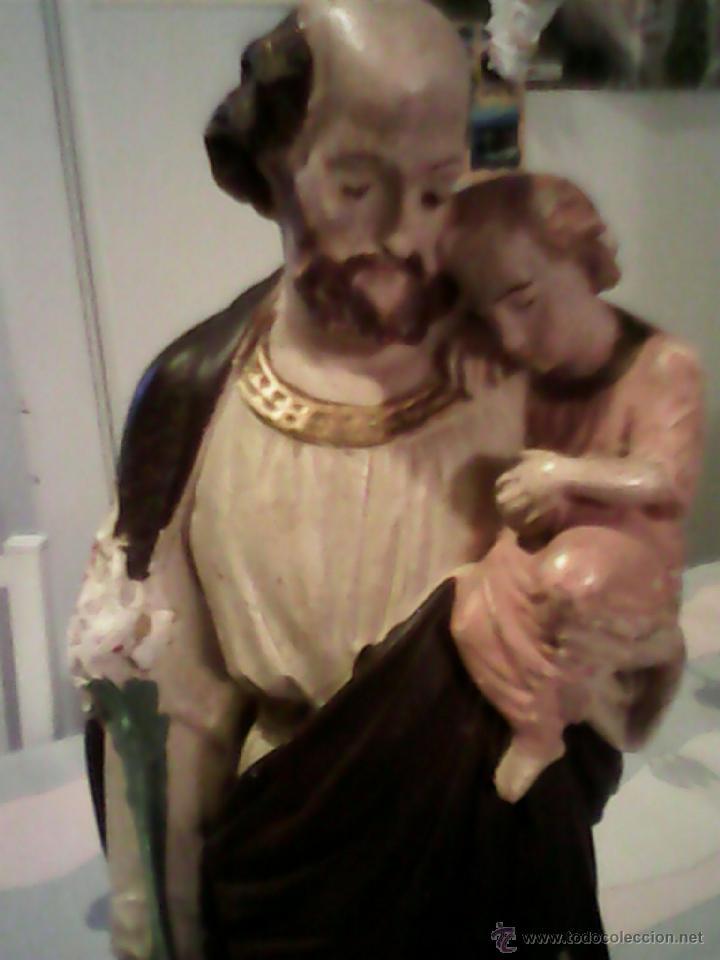Arte: ANTIGUA ESCULTURA DE S.JOSE CON EN NIÑO JESUS DE ESTUCO AÑOS 50,60 - Foto 4 - 39465954