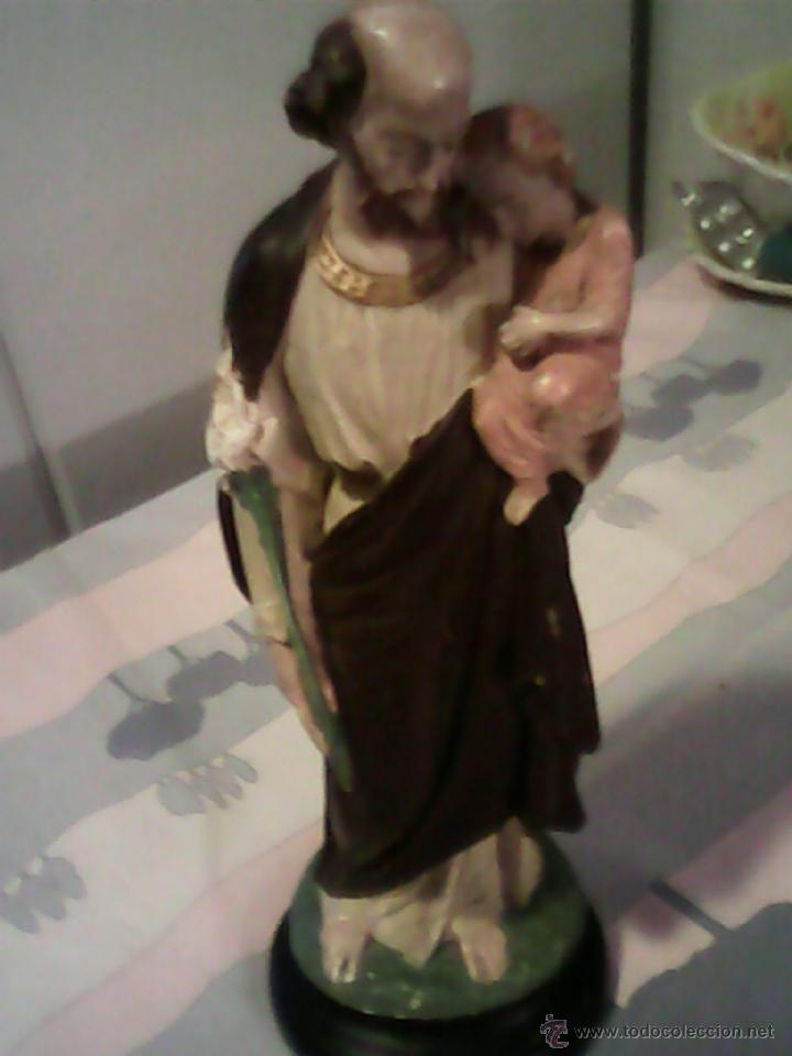Arte: ANTIGUA ESCULTURA DE S.JOSE CON EN NIÑO JESUS DE ESTUCO AÑOS 50,60 - Foto 5 - 39465954