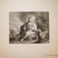Arte: L'ENFANT JÉSUS BERGER. EL NIÑO JESÚS, DE MURILLO. GRABADO POR LEDOUX.. Lote 39491460