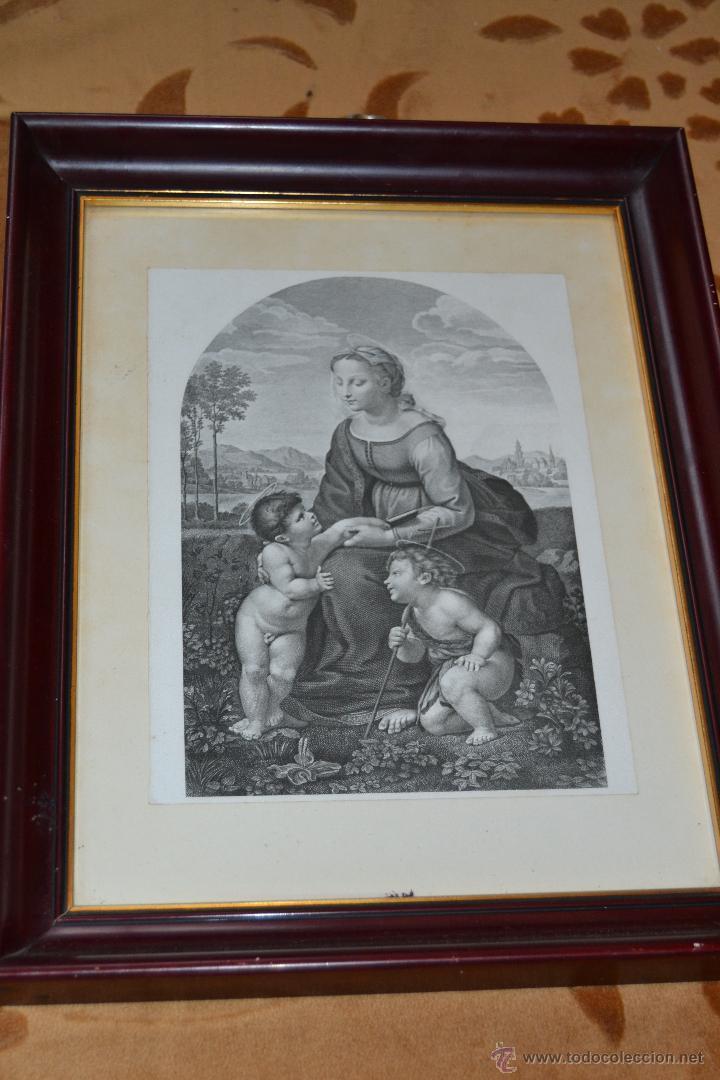 GRABADO DE LA VIRGEN MARIA CON EL NIÑO JESÚS Y SAN JUAN BAUTISTA (Arte - Arte Religioso - Grabados)