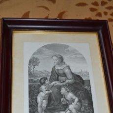 Arte: GRABADO DE LA VIRGEN MARIA CON EL NIÑO JESÚS Y SAN JUAN BAUTISTA. Lote 39528882