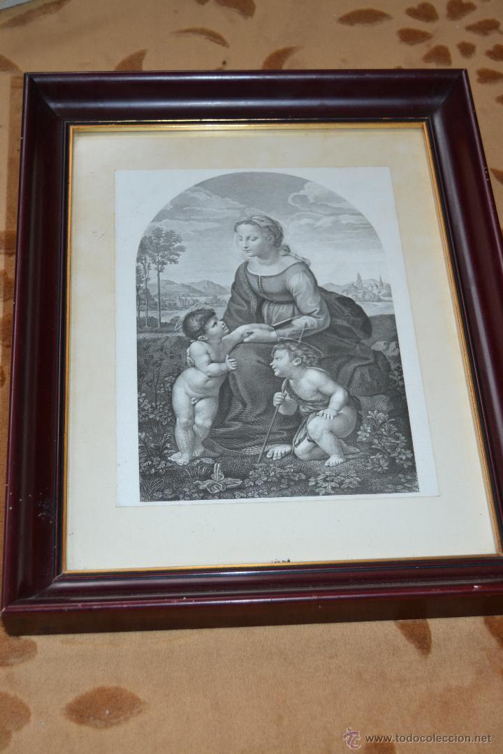 Arte: Grabado de la Virgen Maria con el niño Jesús y San Juan Bautista - Foto 2 - 39528882
