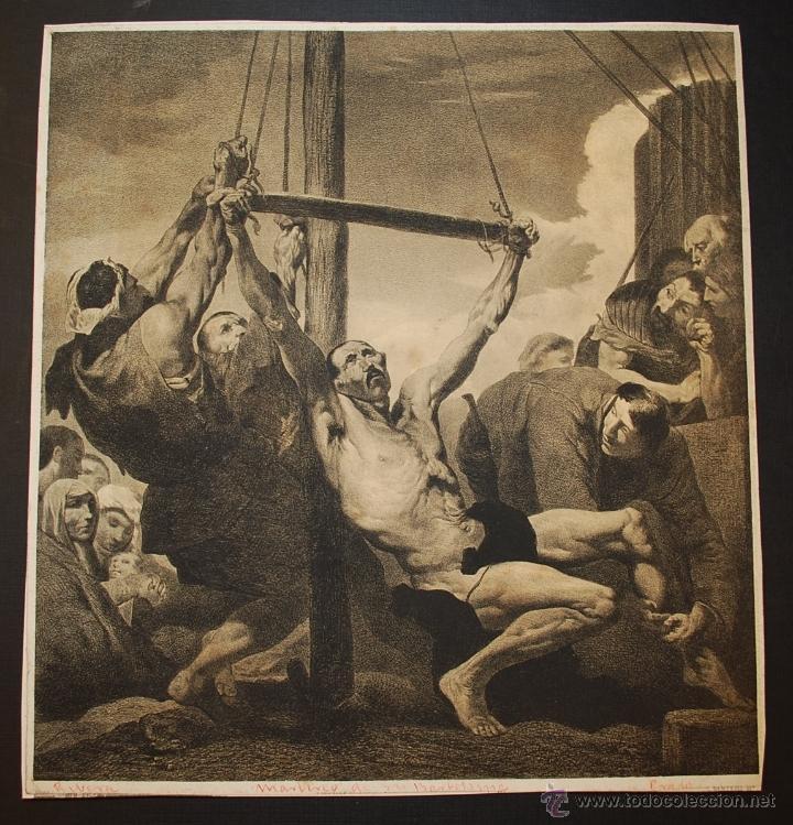 MARTIRIO DE SAN BARTOLOMÉ. RIBERA. LITOGRAFÍA DE NANTEUIL. SIGLO XIX. (Arte - Arte Religioso - Litografías)