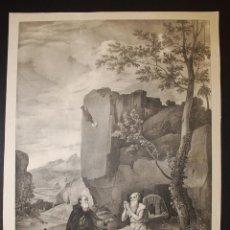 Arte: SAN PABLO PRIMER ERMITAÑO. DE VELÁZQUEZ. LITOGRAFÍA ORIGINAL DE BLANCHARD. SIGLO XIX.. Lote 39618764