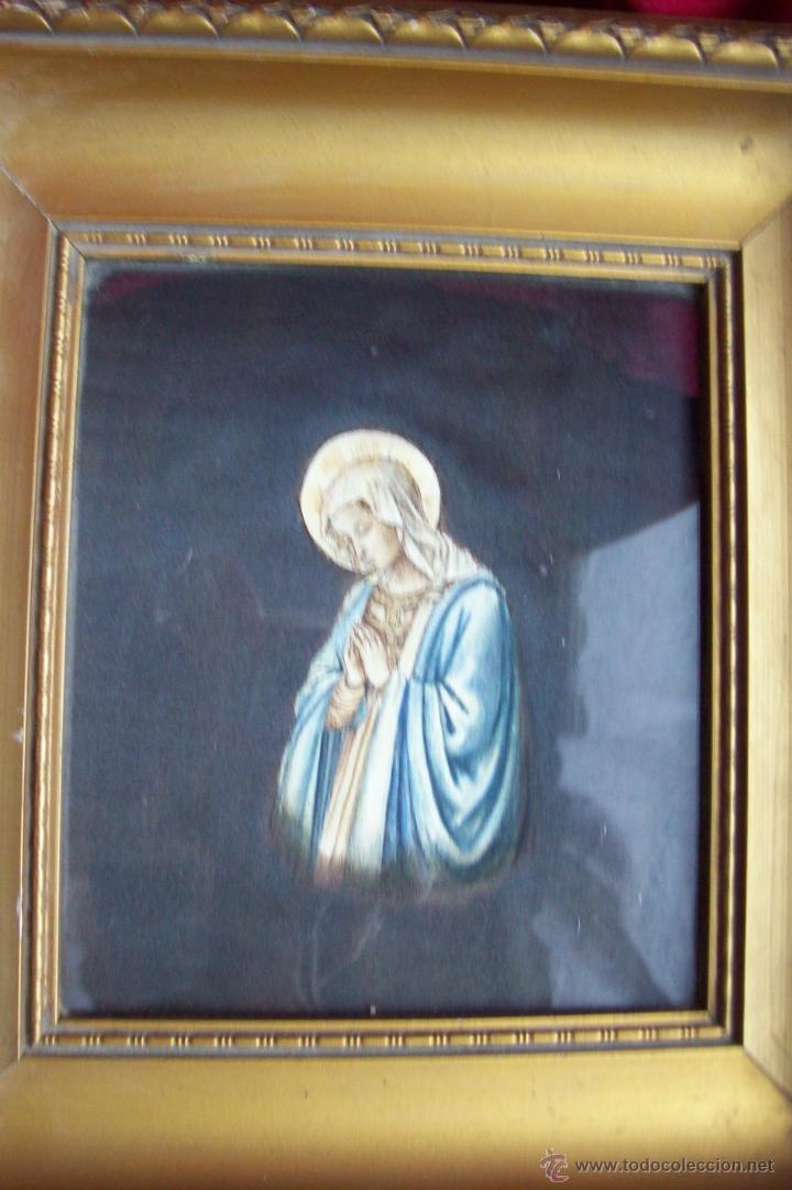 VIRGEN PINTADA SOBRE SEDA (Arte - Arte Religioso - Pintura Religiosa - Otros)
