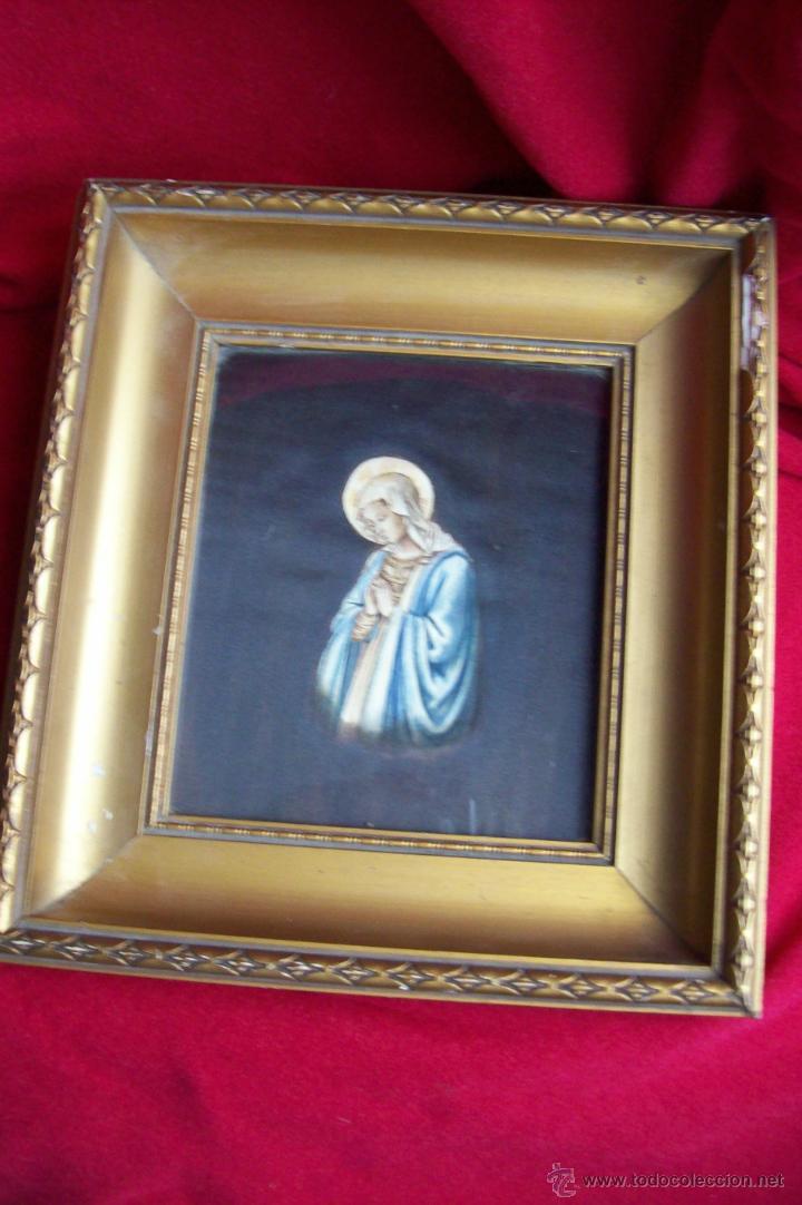 Arte: Virgen pintada sobre seda - Foto 12 - 39793101