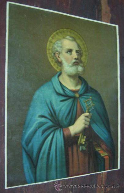 PRECIOSA ANTIGUA LAMINA RELIGIOSA ITALIANA SAN PEDRO CON LAS LLAVES : AUREOLA CON REFLEJOS (Arte - Arte Religioso - Litografías)