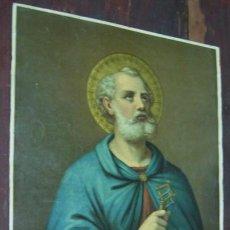 Arte: PRECIOSA ANTIGUA LAMINA RELIGIOSA ITALIANA SAN PEDRO CON LAS LLAVES : AUREOLA CON REFLEJOS. Lote 40007325