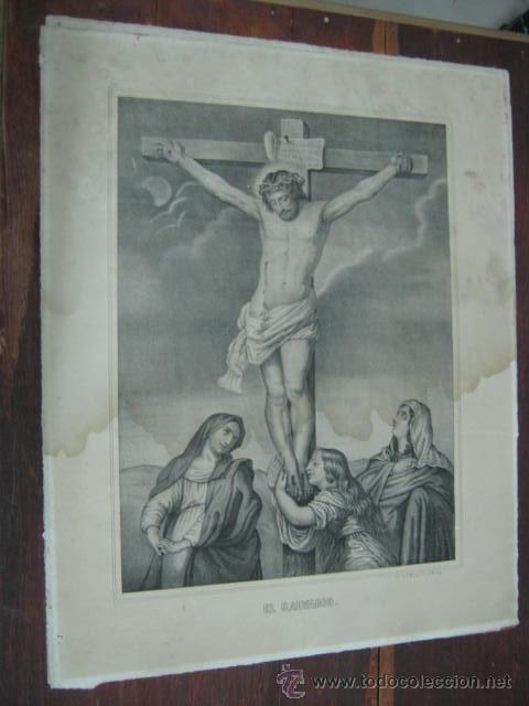 GRAN GRABADO LITOGRAFICO 55 CM ANTIGUO - CRISTO - EL CALVARIO - STA MARIA Y KRANEL . MALAGA (Arte - Arte Religioso - Grabados)