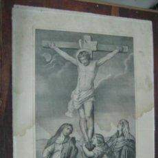 Arte: GRAN GRABADO LITOGRAFICO 55 CM ANTIGUO - CRISTO - EL CALVARIO - STA MARIA Y KRANEL . MALAGA. Lote 40007412