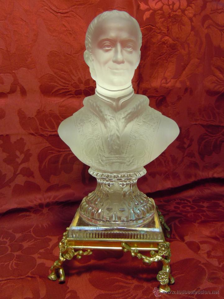 BUSTO PAPA LEON XIII DE CRISTAL DE BACCARAT CON BASE DE BRONCE DORADO. FINALES DEL XIX (Arte - Arte Religioso - Escultura)