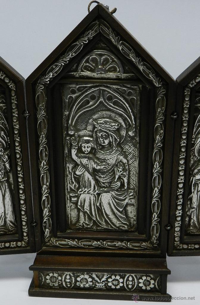 Arte: Triptico Altar de Madera y Plata antiguo y religioso, realizado en madera con interior de Plata, sig - Foto 2 - 48972738