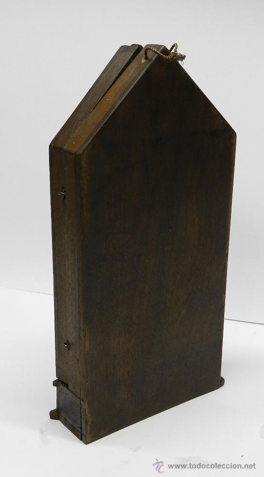 Arte: Triptico Altar de Madera y Plata antiguo y religioso, realizado en madera con interior de Plata, sig - Foto 5 - 48972738
