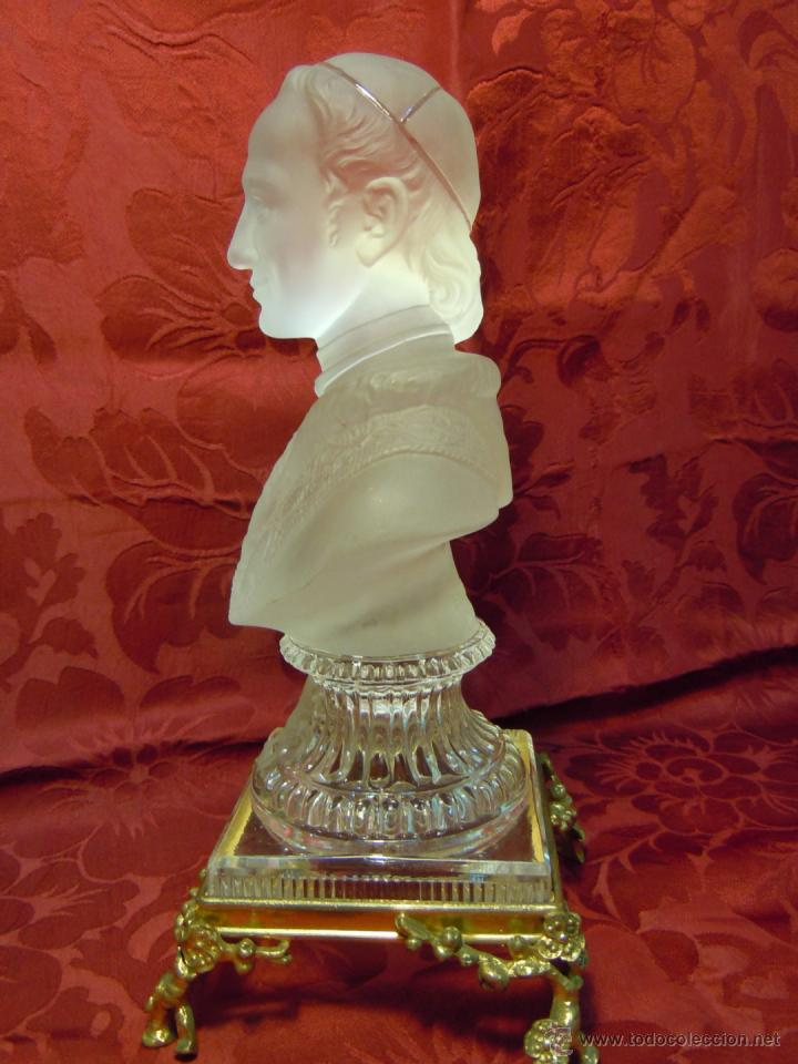 Arte: BUSTO PAPA LEON XIII DE CRISTAL DE BACCARAT CON BASE DE BRONCE DORADO. FINALES DEL XIX - Foto 10 - 40005025