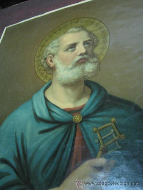 Arte: PRECIOSA ANTIGUA LAMINA RELIGIOSA ITALIANA SAN PEDRO CON LAS LLAVES : AUREOLA CON REFLEJOS - Foto 2 - 40007325