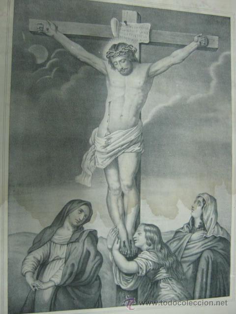 Arte: Gran grabado litografico 55 cm antiguo - CRISTO - EL CALVARIO - Sta Maria y Kranel . MALAGA - Foto 2 - 40007412