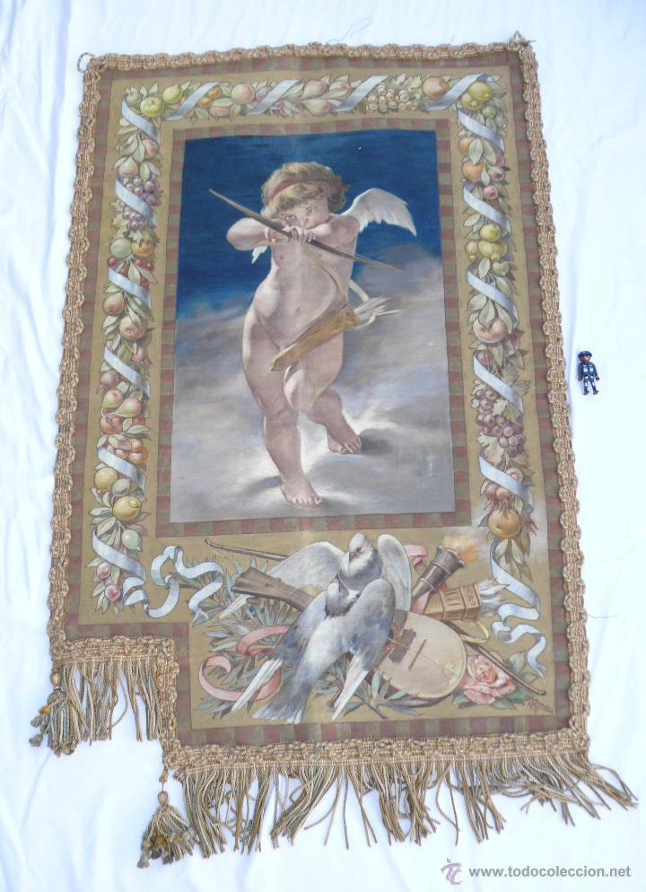 FABULOSO TAPIZ OLEO IGLESIA QUERUBIN ANGEL RELIGIOSO A RENAU 57 TELA PINTURA ANTIGUO ANTIGUA (Arte - Arte Religioso - Pintura Religiosa - Oleo)