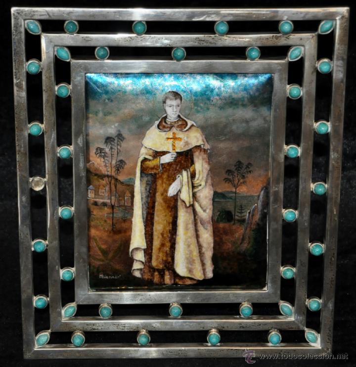 MANUEL BLANXART. ESMALTE ENMARCADO EN PLATA Y DECORADO EN PIEDRA LARIMAR (Arte - Arte Religioso - Pintura Religiosa - Otros)