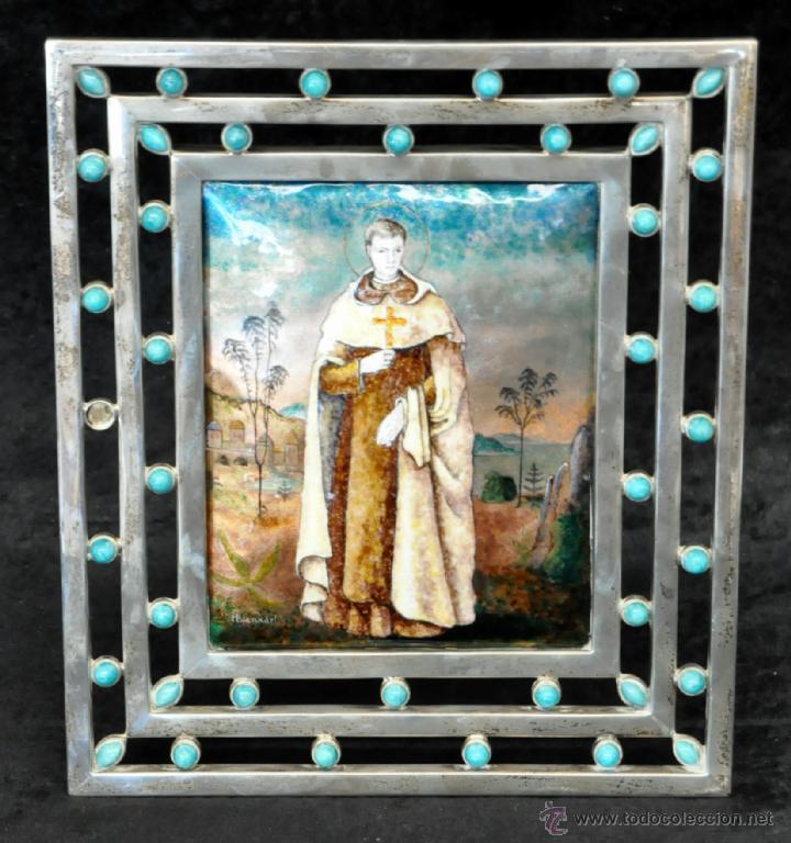 Arte: MANUEL BLANXART. ESMALTE ENMARCADO EN PLATA Y DECORADO EN PIEDRA LARIMAR - Foto 5 - 40264774