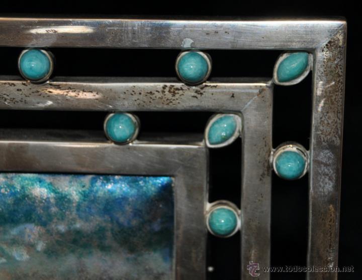 Arte: MANUEL BLANXART. ESMALTE ENMARCADO EN PLATA Y DECORADO EN PIEDRA LARIMAR - Foto 12 - 40264774