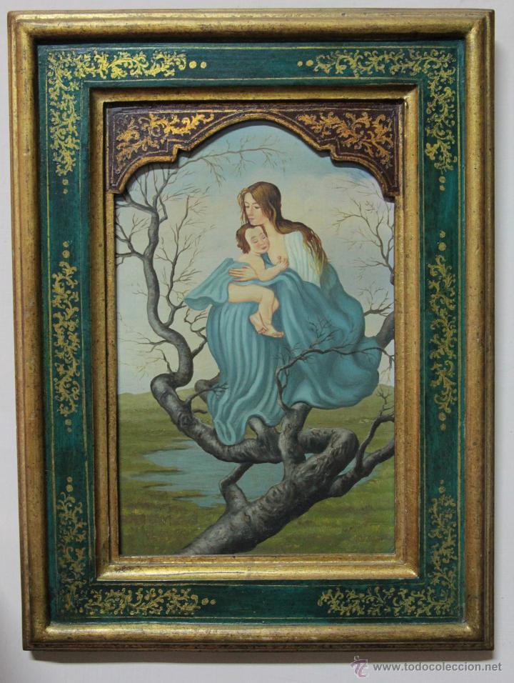 PRECIOSA Y ANTIGUA VIRGEN - ANONIMO (Arte - Arte Religioso - Pintura Religiosa - Oleo)