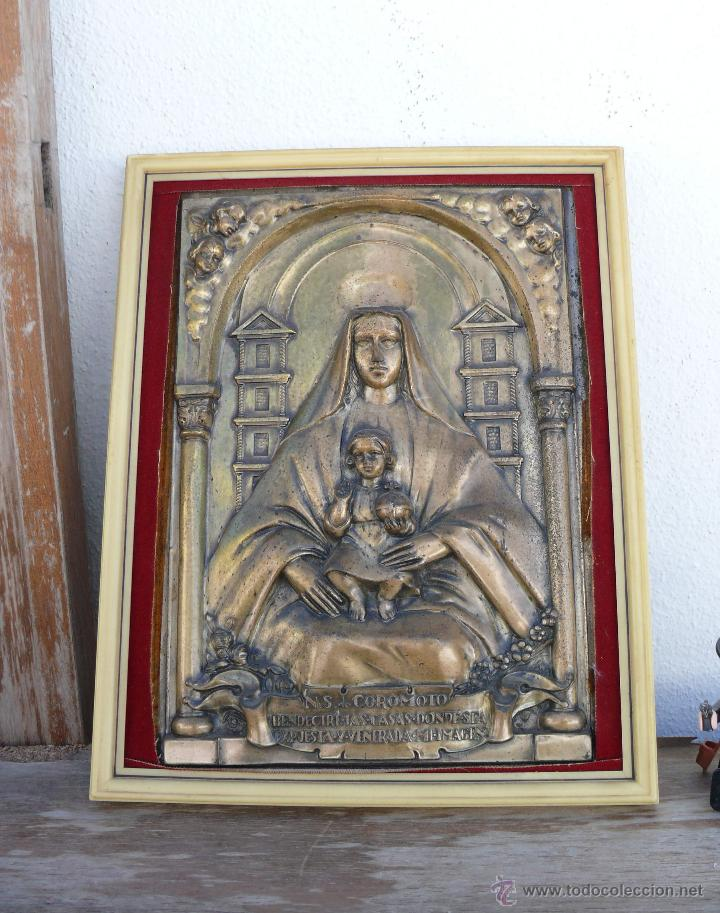 PLACA RETABLO METALICA VIRGEN COROMOTO CON NIÑO BENDICE TU CASA VENEZUELA VENEZOLANA (Arte - Arte Religioso - Retablos)