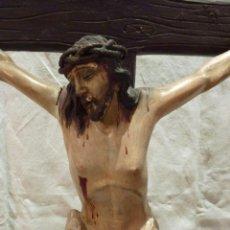 Arte: TALLA EN MADERA DE CRISTO EN LA CRUZ. SIGLO XIX.. Lote 40389472