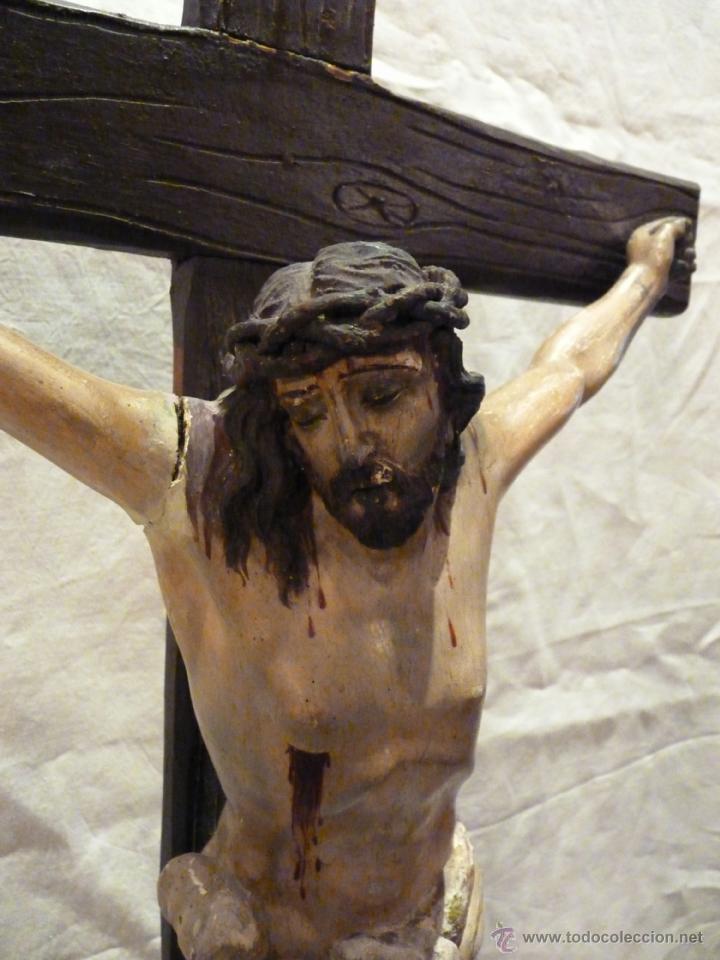 Arte: TALLA EN MADERA DE CRISTO EN LA CRUZ. SIGLO XIX. - Foto 2 - 40389472