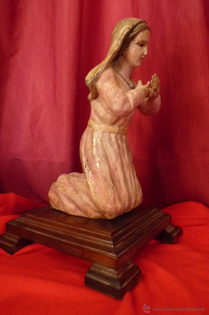Arte: IMAGEN RELIGIOSA ANTIGUA TALLA VIRGEN MARÍA EN ACTITUD ORANTE POLICROMADA - Foto 2 - 40495426
