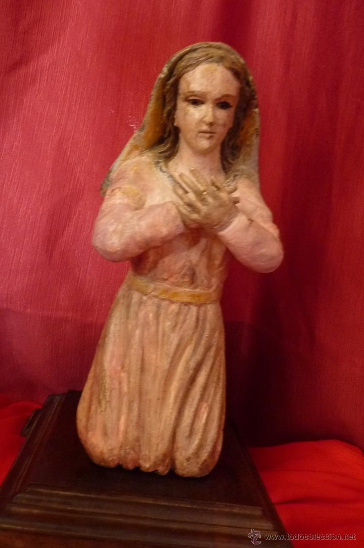Arte: IMAGEN RELIGIOSA ANTIGUA TALLA VIRGEN MARÍA EN ACTITUD ORANTE POLICROMADA - Foto 4 - 40495426