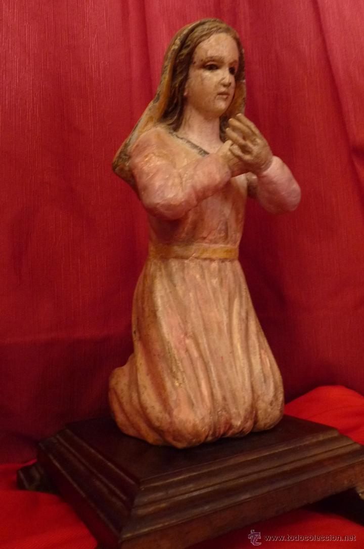 Arte: IMAGEN RELIGIOSA ANTIGUA TALLA VIRGEN MARÍA EN ACTITUD ORANTE POLICROMADA - Foto 5 - 40495426