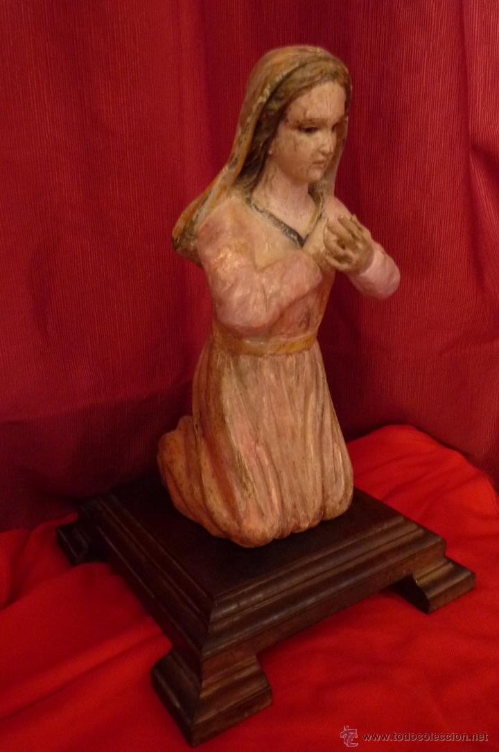 Arte: IMAGEN RELIGIOSA ANTIGUA TALLA VIRGEN MARÍA EN ACTITUD ORANTE POLICROMADA - Foto 6 - 40495426