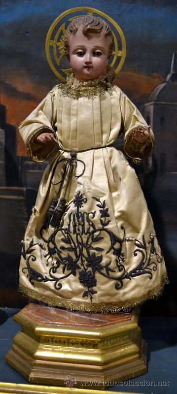 MAGNIFICO NIÑO JESUS DE VESTIR O CAP Y POTA. S. XIX (Arte - Arte Religioso - Escultura)