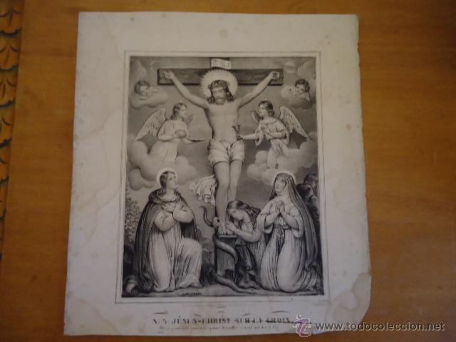MAGNIFICO GRABADO RELIGIOSO CRISTO - JESUS EN LA CRUZ ANGELES Y VIRGEN, , NAP THOM 34,5 X 32 (Arte - Arte Religioso - Grabados)