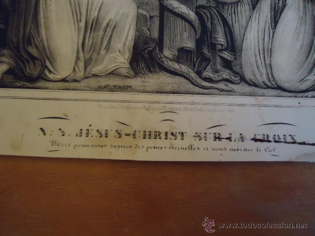 Arte: magnifico grabado religioso cristo - jesus en la cruz angeles y virgen, , nap thom 34,5 x 32 - Foto 3 - 40529467