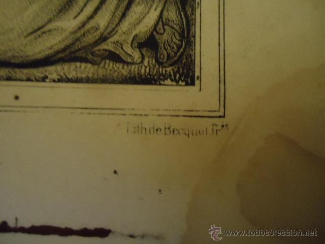 Arte: magnifico grabado religioso cristo - jesus en la cruz angeles y virgen, , nap thom 34,5 x 32 - Foto 4 - 40529467