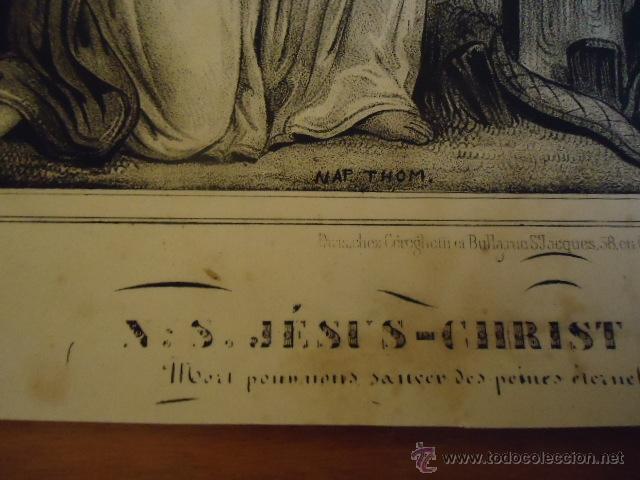 Arte: magnifico grabado religioso cristo - jesus en la cruz angeles y virgen, , nap thom 34,5 x 32 - Foto 5 - 40529467