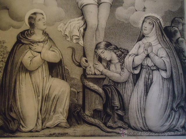 Arte: magnifico grabado religioso cristo - jesus en la cruz angeles y virgen, , nap thom 34,5 x 32 - Foto 6 - 40529467