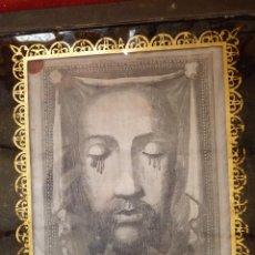 Arte: IMPRESIONANTE GRABADO EN SEDA SIGLO XIX ROSTRO DE CRISTO SERIE LIMITADA BASÍLICA DE ROMA LACRADO. Lote 40543467