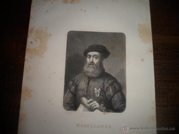 Arte: Magallanes. Litografia siglo 19 - Foto 2 - 40576832