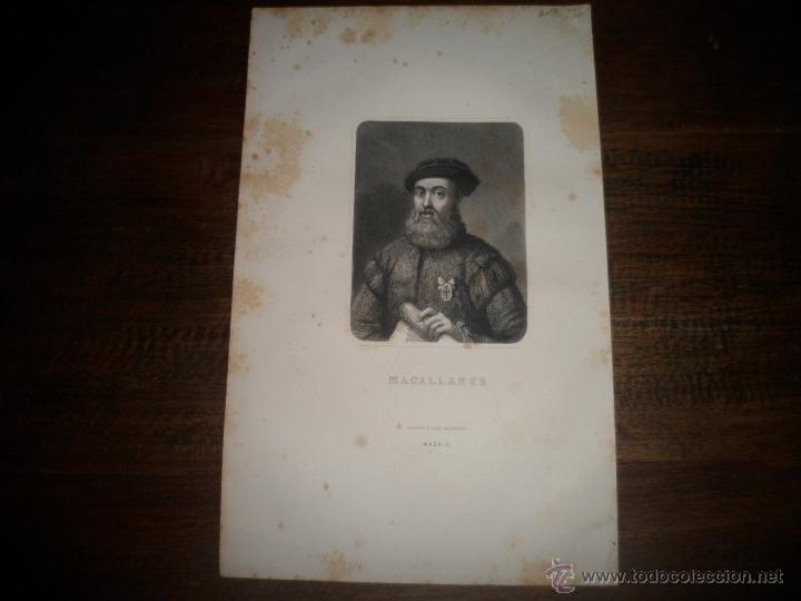 Arte: Magallanes. Litografia siglo 19 - Foto 3 - 40576832