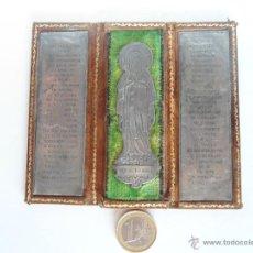 Arte: ANTIGUO TRIPTICO DE PIEL CON LAMINAS GRABADAS DE LA VIRGEN DE LOURDES. Lote 40598198