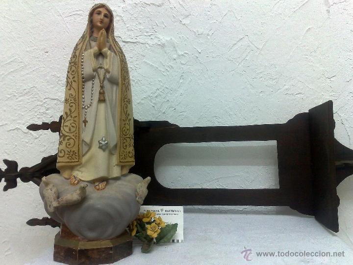 Arte: VIRGEN DE FATIMA. PRECIOSA IMAGEN DE LA VIRGEN CON SU CAPILLA EN MADERA. - Foto 2 - 40652237