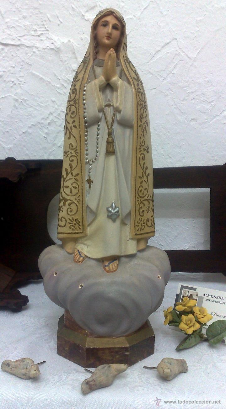 Arte: VIRGEN DE FATIMA. PRECIOSA IMAGEN DE LA VIRGEN CON SU CAPILLA EN MADERA. - Foto 14 - 40652237