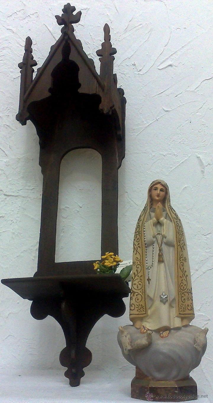 Arte: VIRGEN DE FATIMA. PRECIOSA IMAGEN DE LA VIRGEN CON SU CAPILLA EN MADERA. - Foto 29 - 40652237