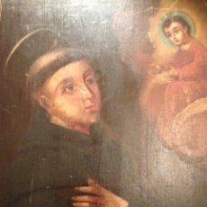 Arte: ANTIGUA PINTURA OLEO SOBRE TABLA, SAN ANTONIO DE PADUA Y NIÑO JESUS, SIGLO XVII- XVIII. Lote 40684685