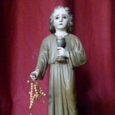 Arte: IMAGEN RELIGIOSA PRECIOSA TALLA EN MADERA NIÑO JESÚS CON CÁLIZ ANTIGUA. Lote 44255832